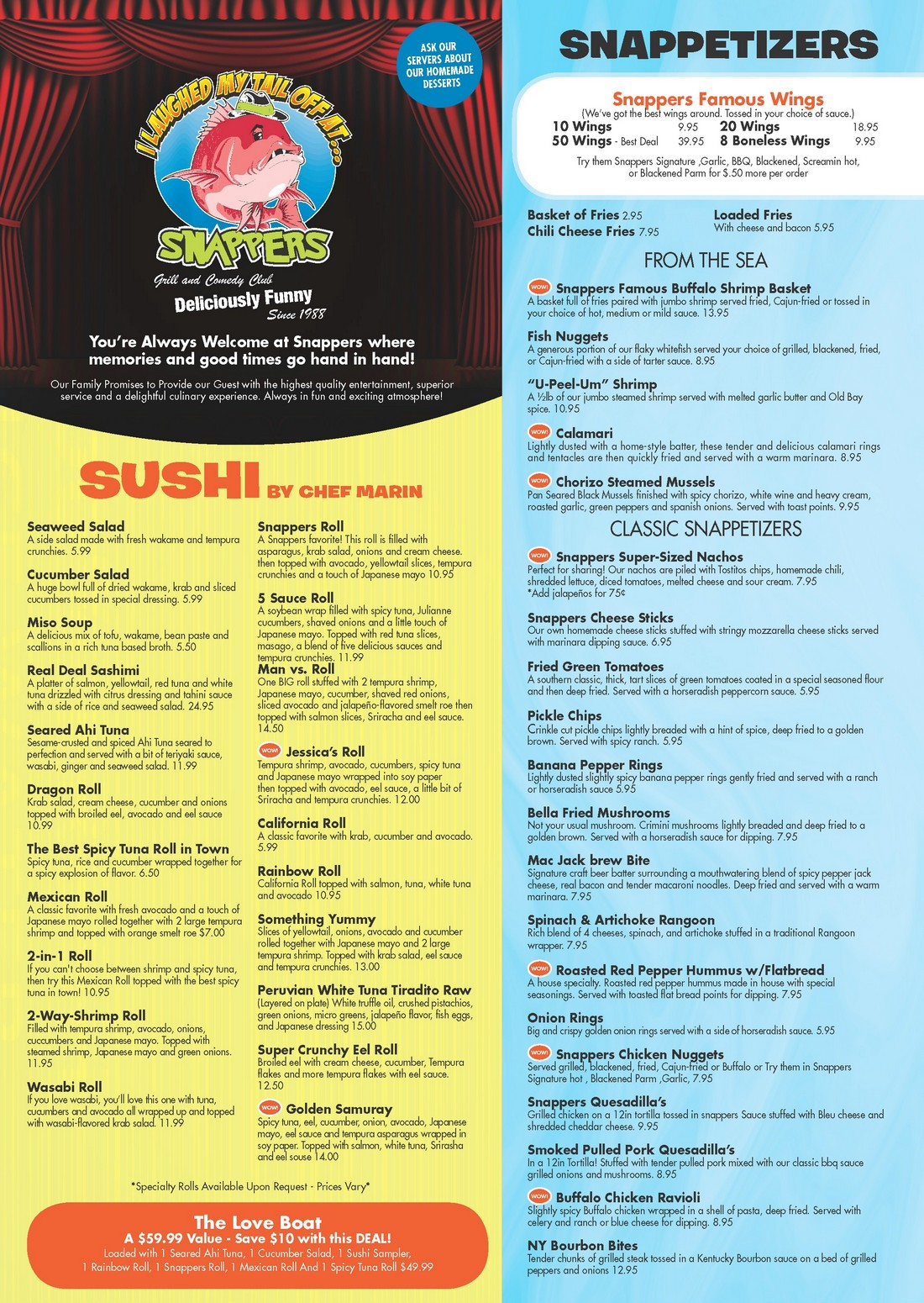 Snappers Food Menu - Page 1