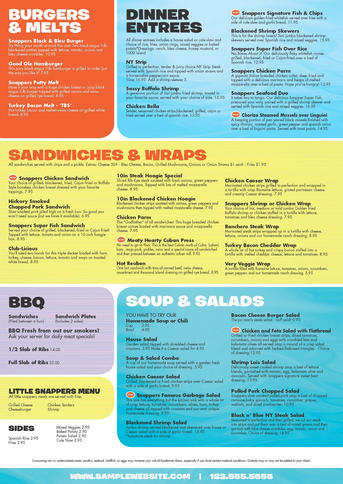 Snappers Food Menu - Page 2